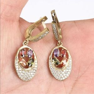 Vintage Jewelry - Sultan Ottoman Ruby Amethyst Silver Drop Earrings